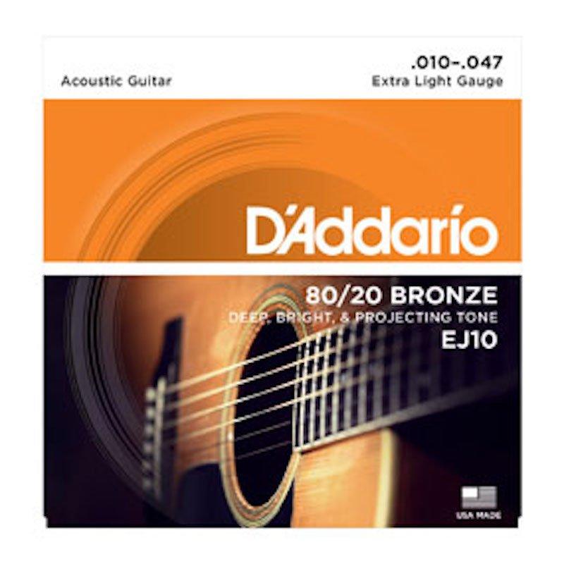 D'Addario EJ10 80/20 Bronze Guitar Strings Extra Light .010-.047