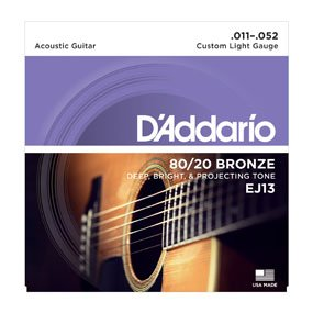 D'Addario EJ13 80/20 Bronze Guitar Strings Custom Light .011-.052