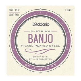 D'Addario EJ60+ 5-String Nickel Wound Banjo Strings Light Plus