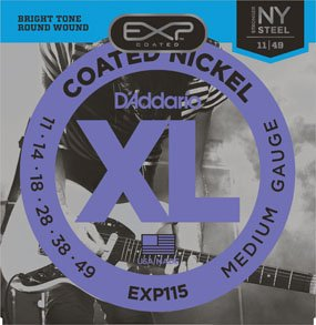 D'Addario EXP115 Coated Nickel Wound Electric Guitar Strings - Medium/Blues/Jazz, 11-49