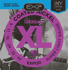D'Addario EXP120 Coated Nickel Wound Electric Guitar Strings - Super Light, 9-42