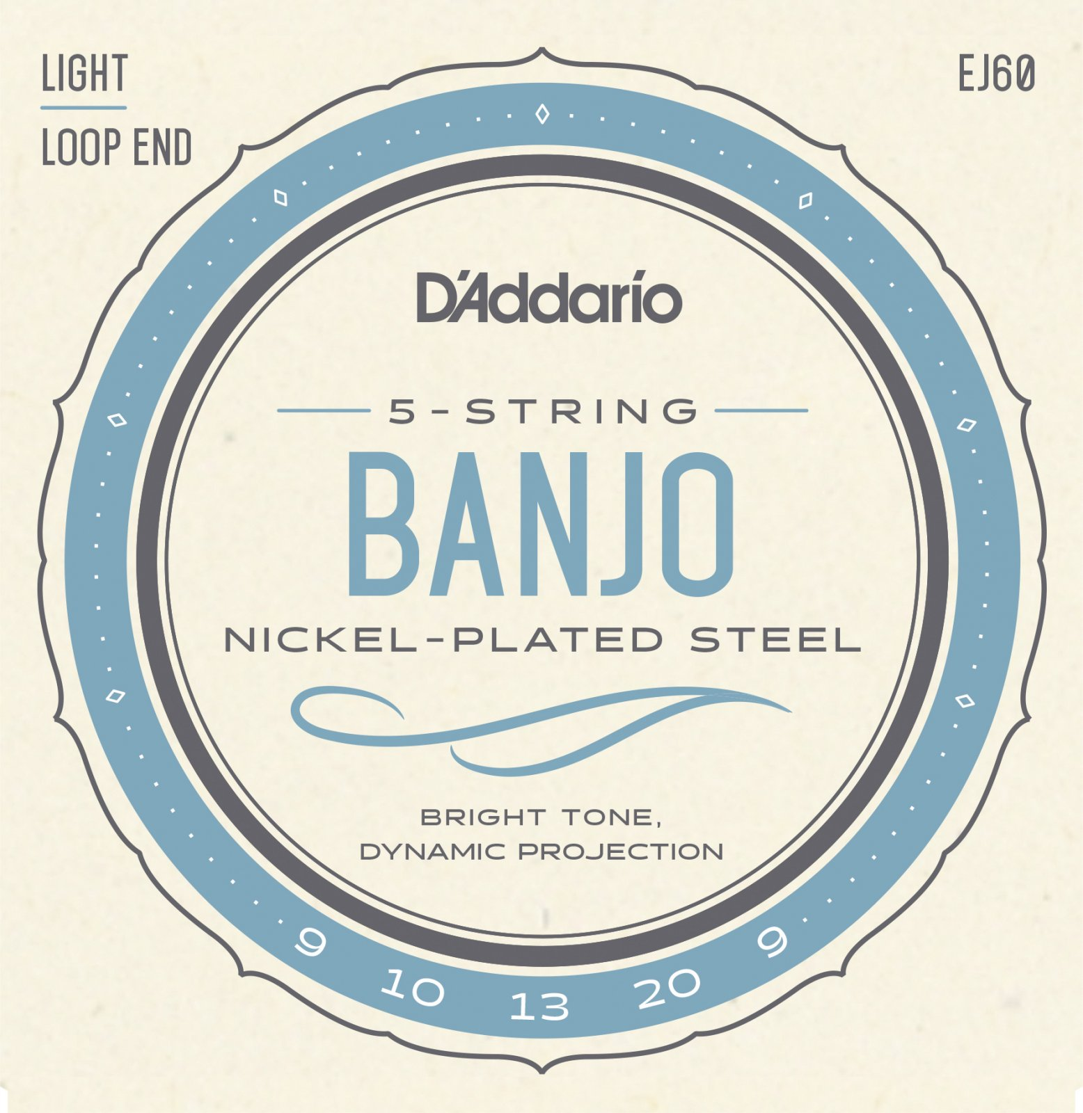 D'Addario EJ60 Nickel 5-String Banjo Strings Light 9-20