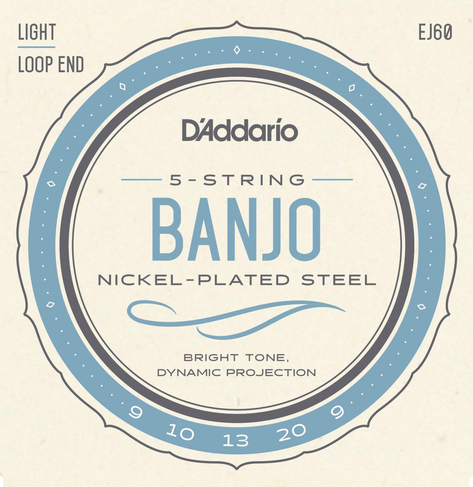 D'Addario EJ60 Nickel 5-String Banjo Strings Light 9-20