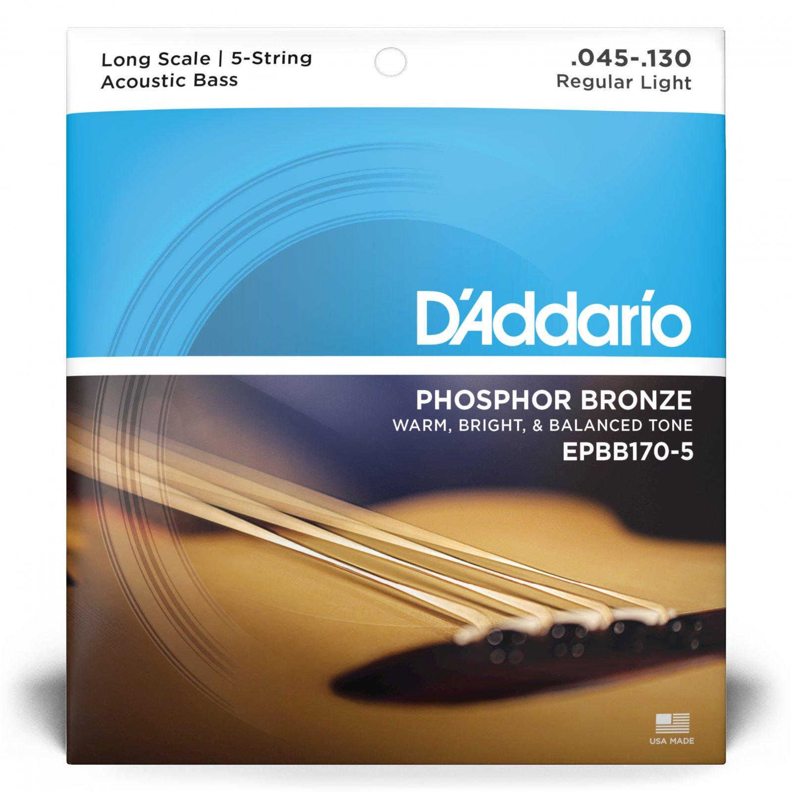 D'Addario EPBB170-5 Phosphor Bronze Acoustic Bass Strings Long Scale 5-String .045-.130