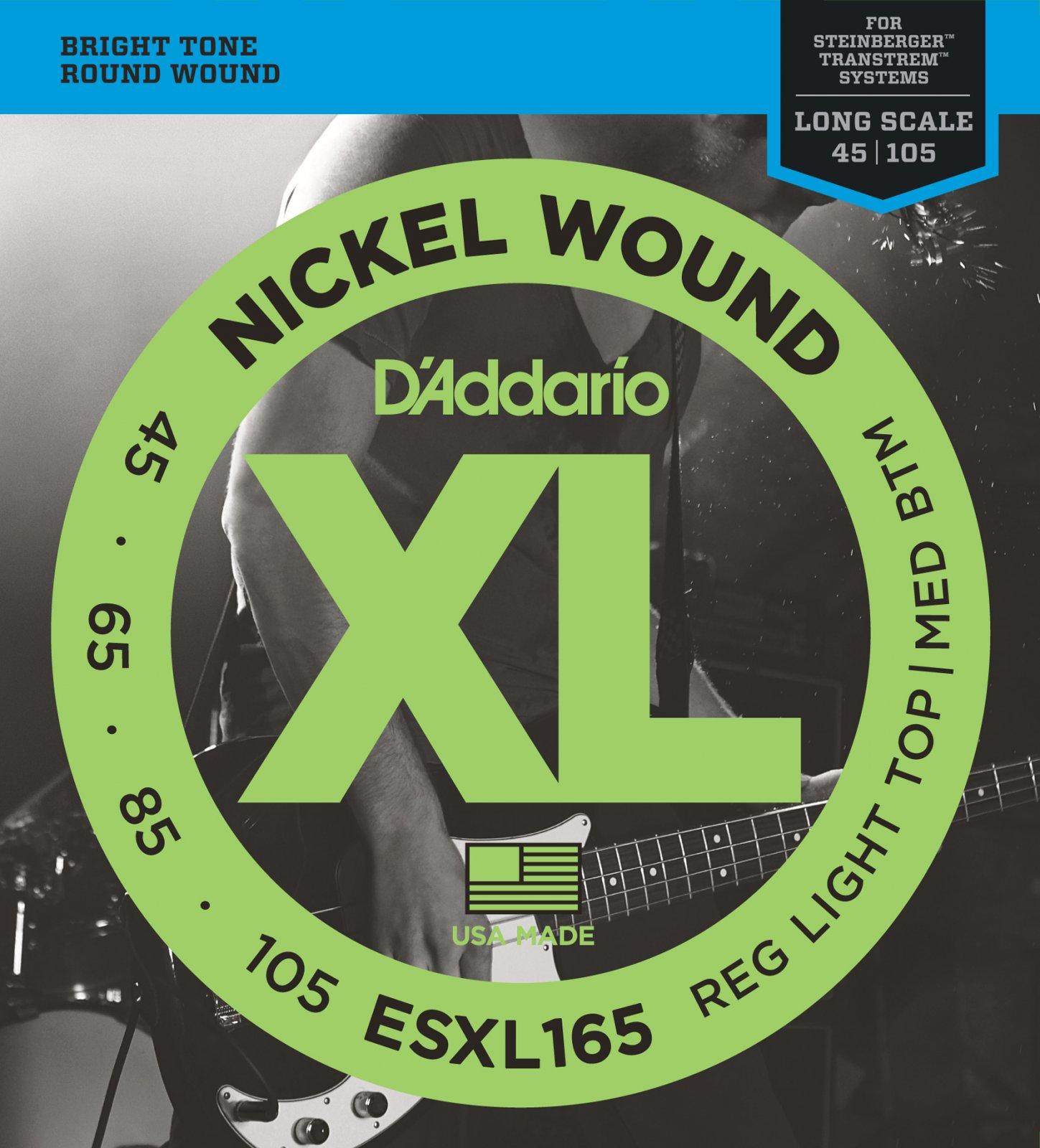 D'Addario ESXL165 Nickel Wound Bass Strings - Custom Light, 45-105, Double Ball End, Long Scale