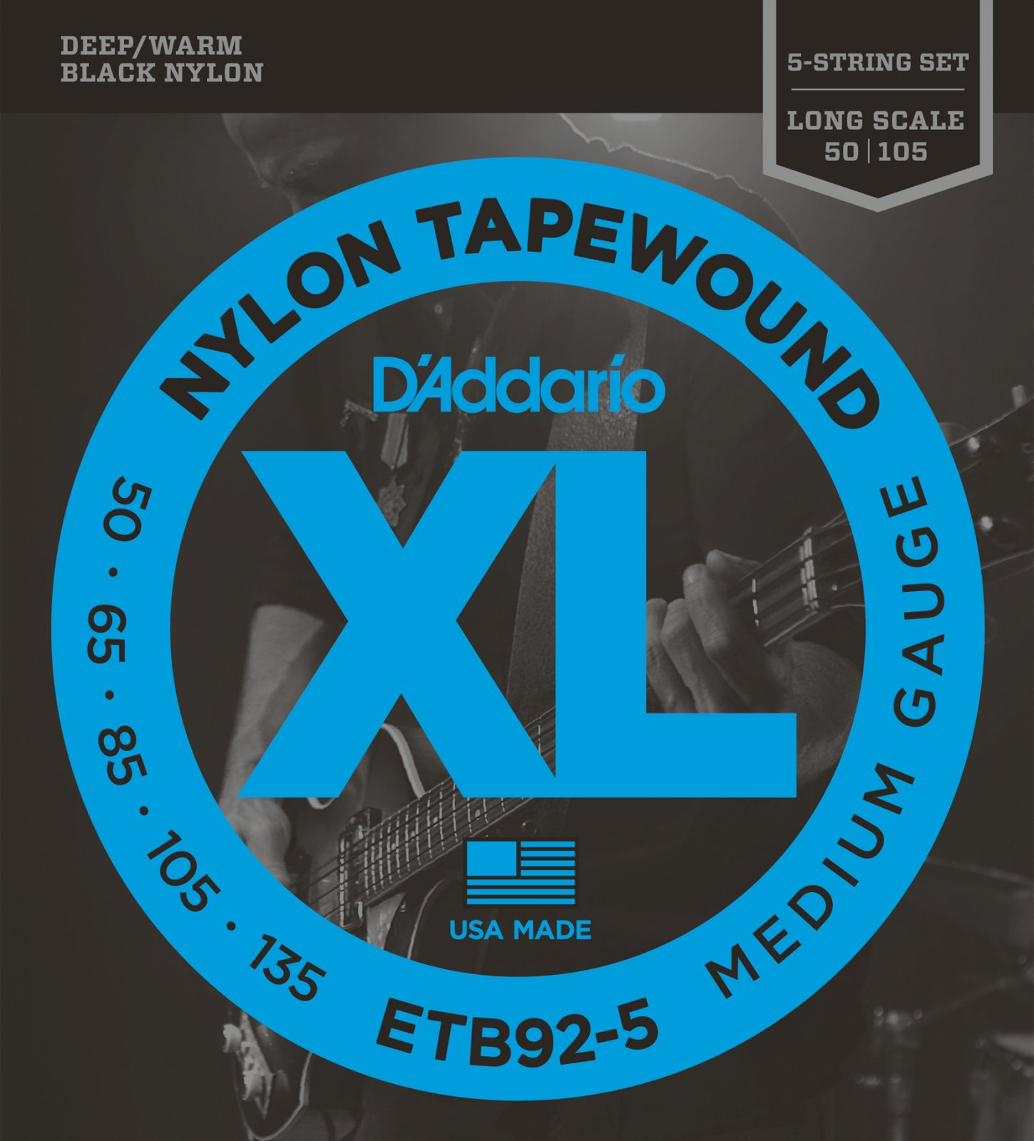 D'Addario ETB92-5 5-String Tapewound Bass Guitar Strings, Medium, 50-135 Long Sc...