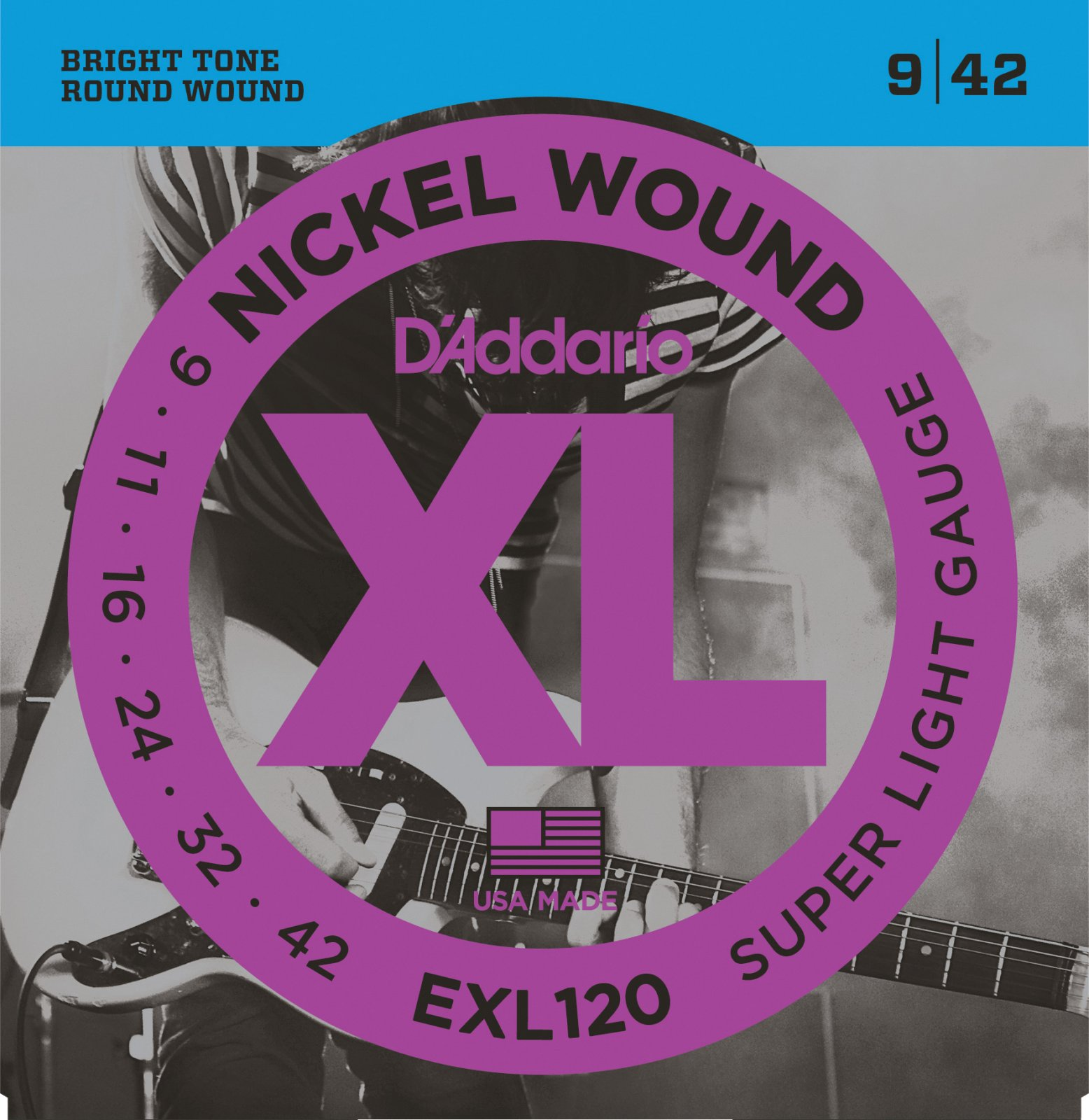 D'Addario EXL120 Nickel Wound Electric Guitar Strings - Super Light, 09-42