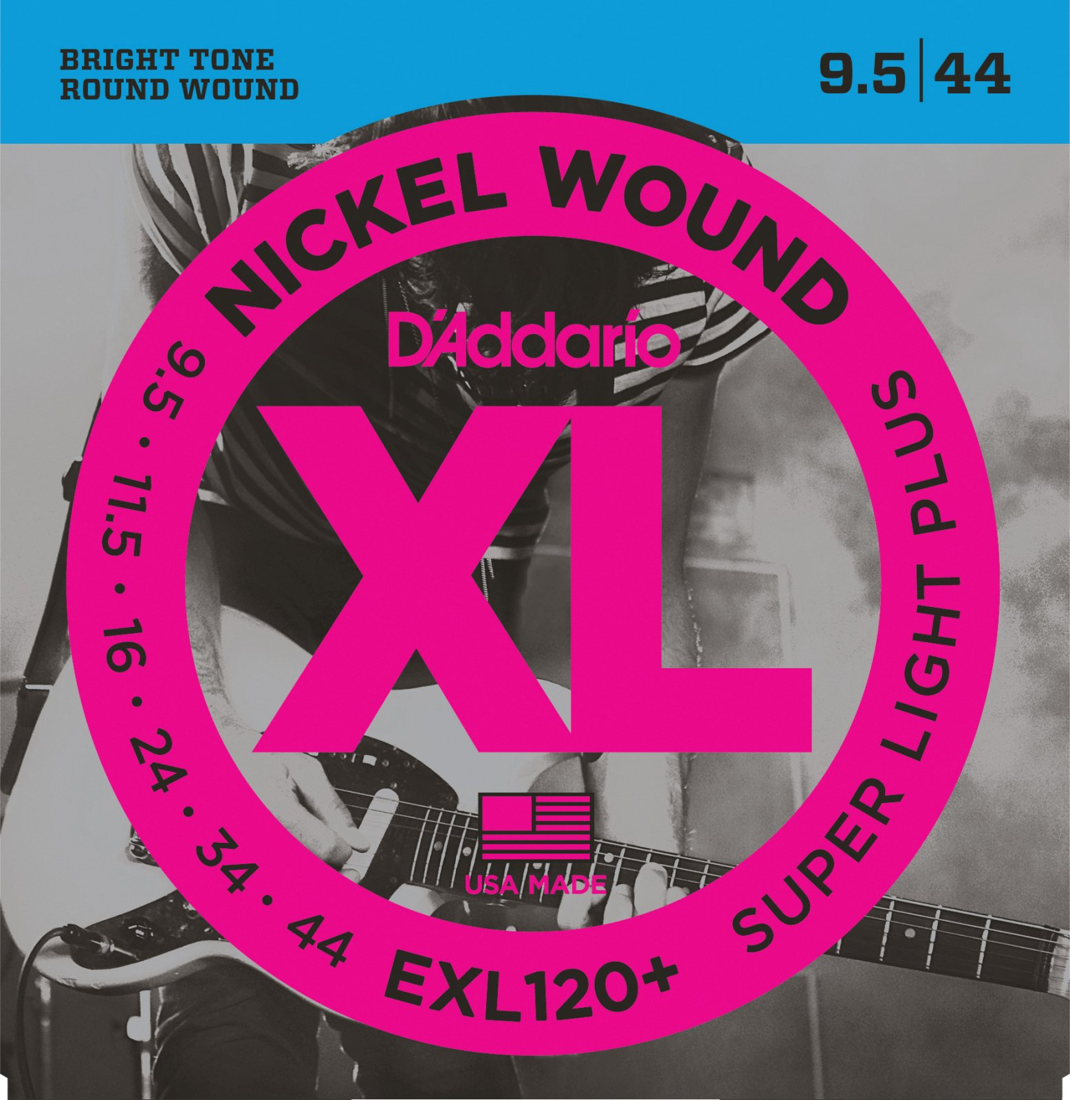 D'Addario EXL120+ Nickel Wound Electric Guitar Strings - Super Light Plus,  9.5-44