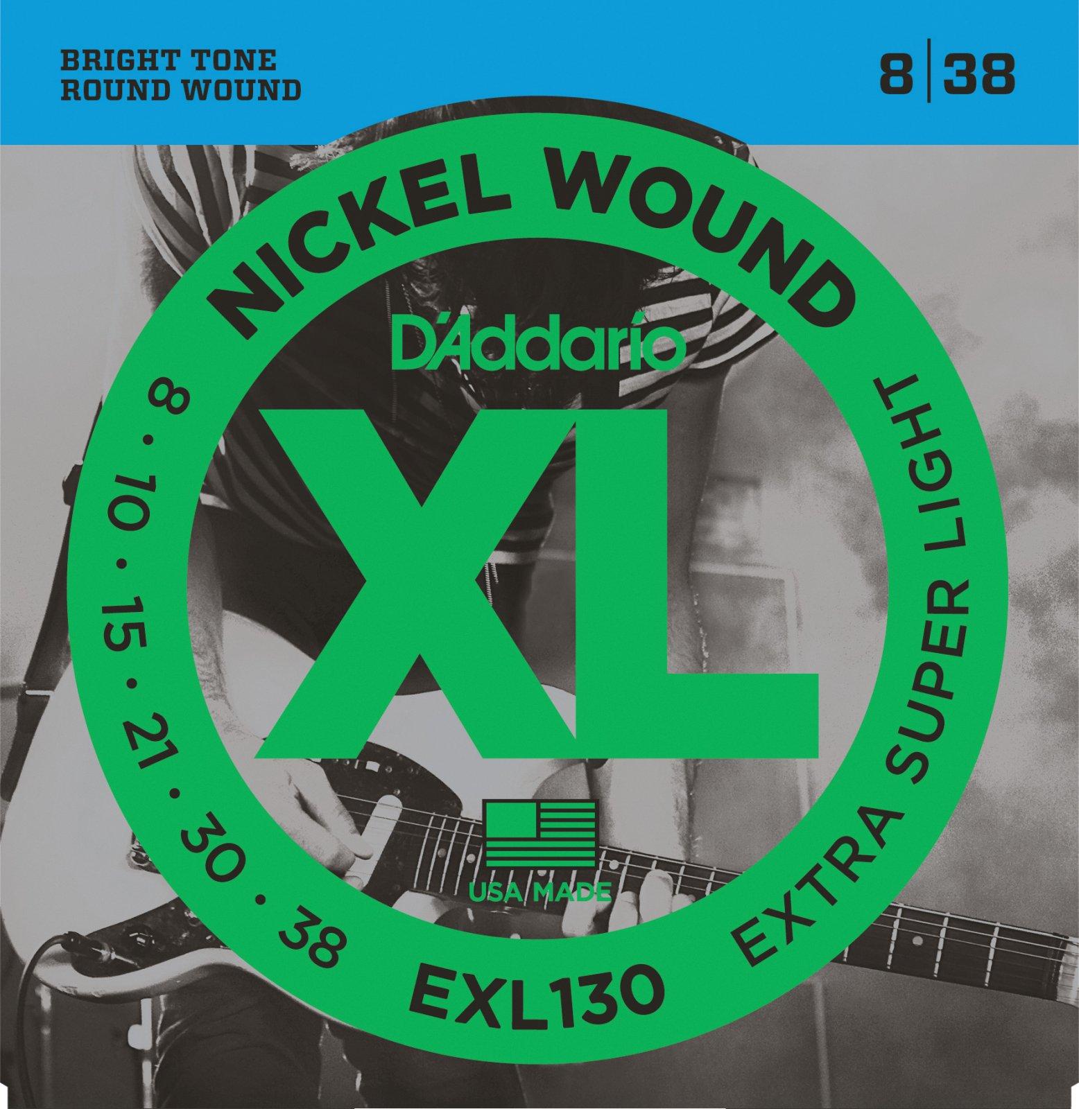 D'Addario EXL130 Nickel Wound Electric Guitar Strings -  Extra-Super Light, 08-38