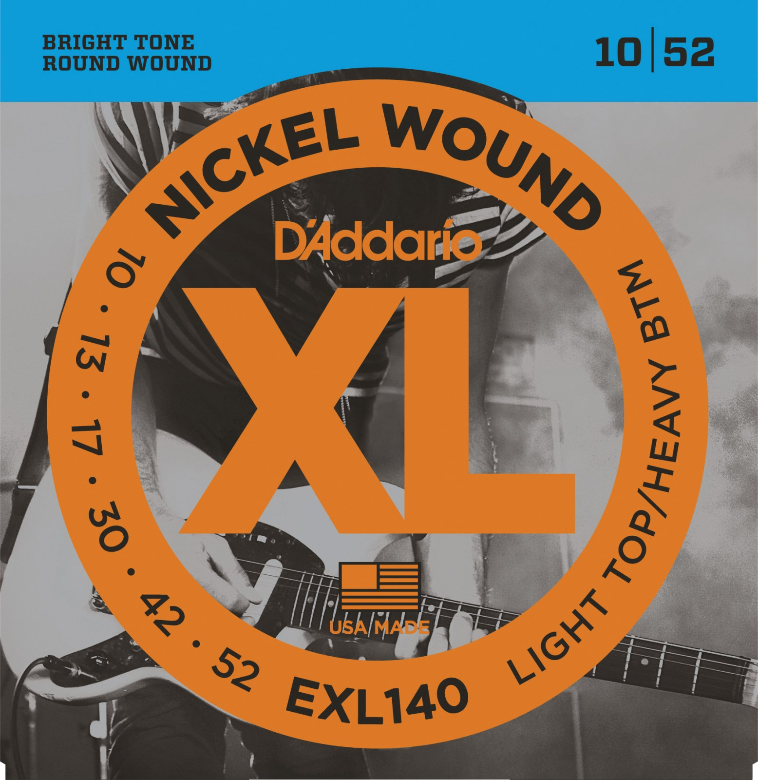 D'Addario EXL140 Nickel Wound Electric Guitar Strings - Light Top/Heavy Bottom, 10-52