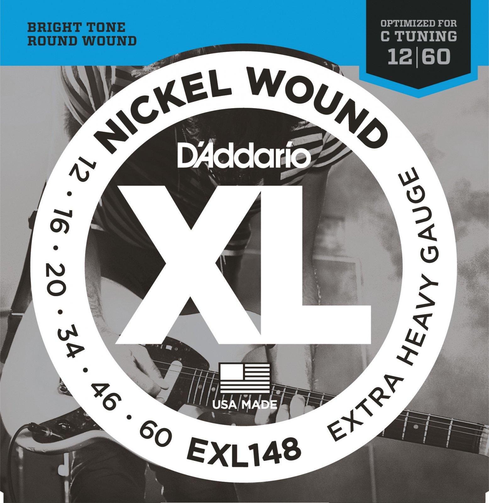D'Addario EXL148 Nickel Wound Electric Guitar Strings - Extra-Heavy, 12-60, C-tuning