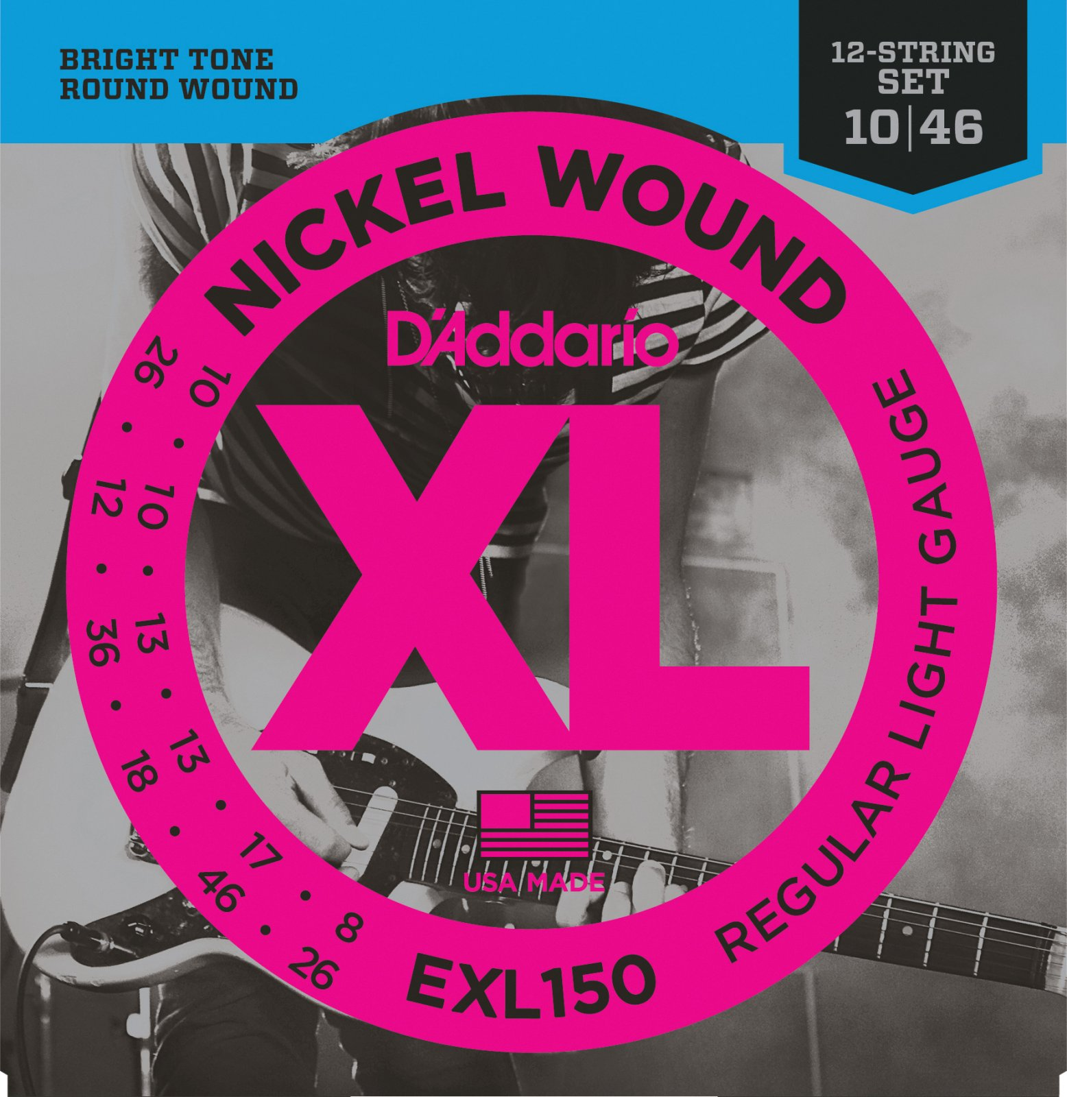 D'Addario EXL150 Nickel Wound 12-String Electric Guitar Strings