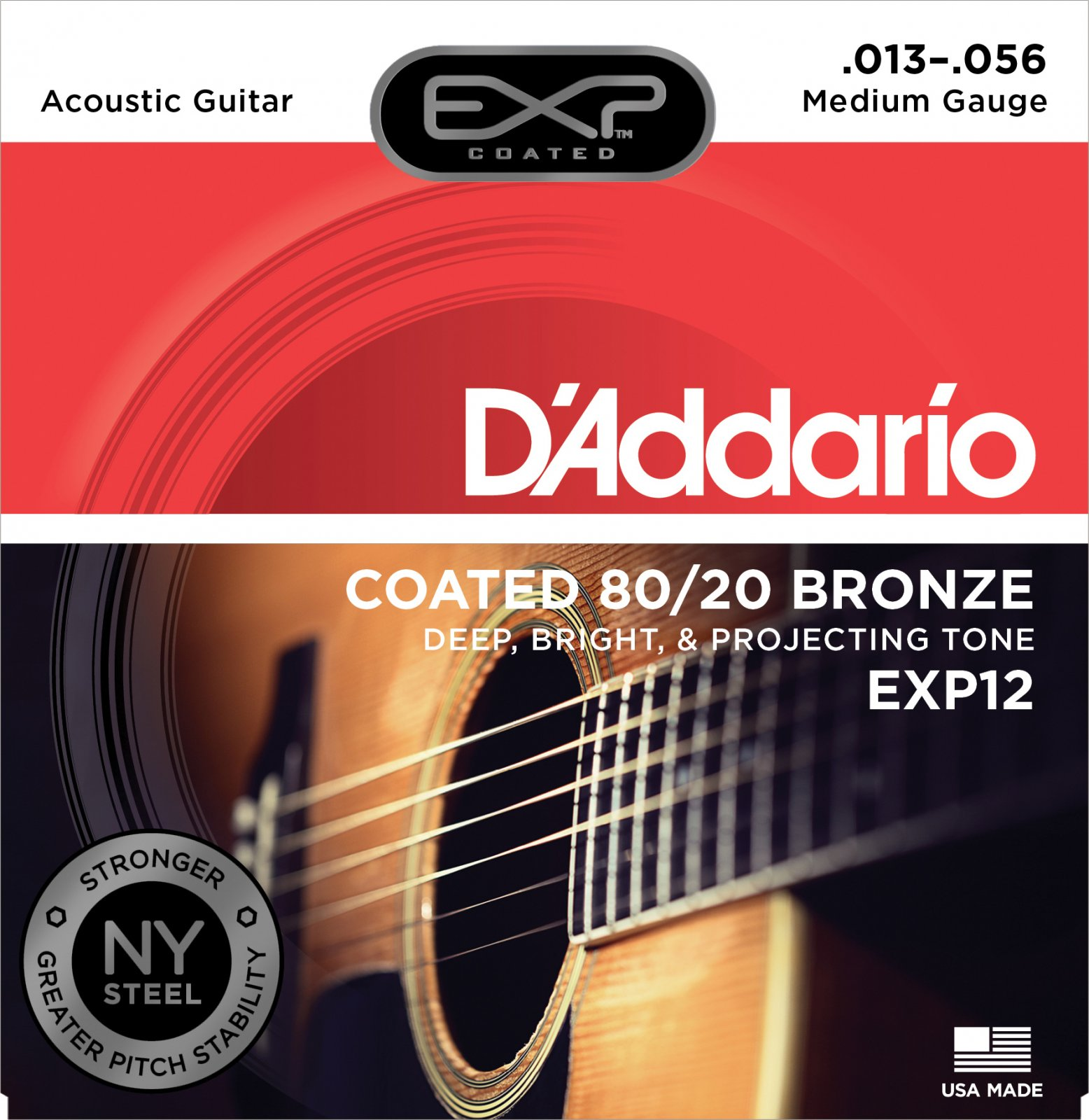 D'Addario EXP12 Coated 80/20 Bronze Acoustic Guitar Strings - Medium, 13-56