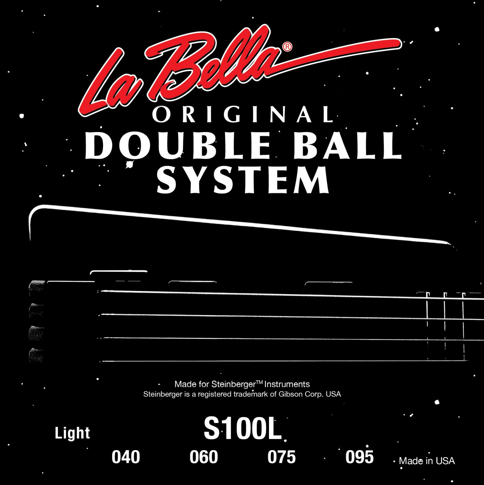 La Bella Steinberger Elec. Bass Double Ball Stainless Flatwound Standard S100S