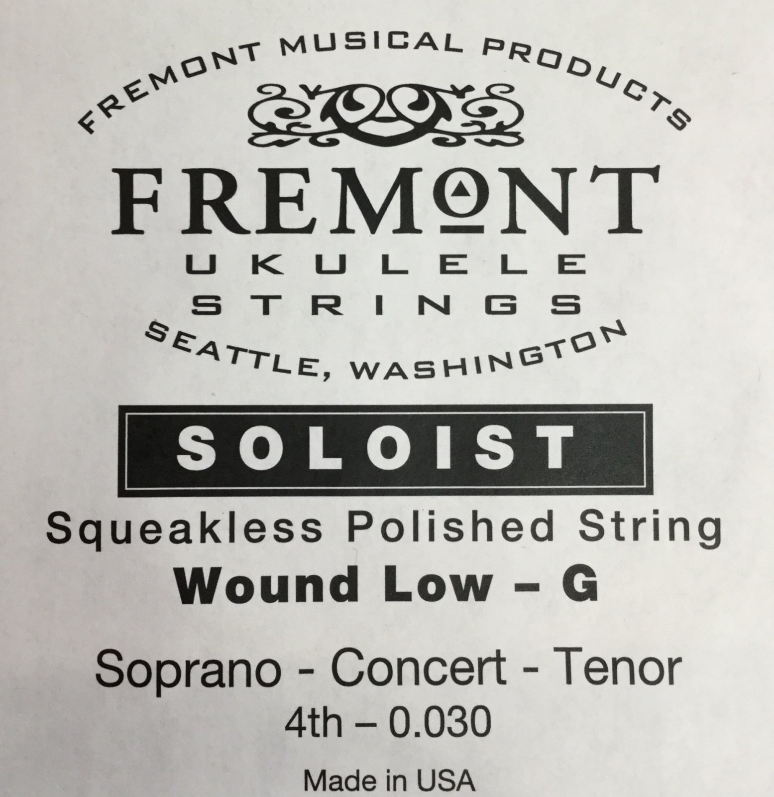 Fremont Soloist Ukulele Flatwound Low G Single