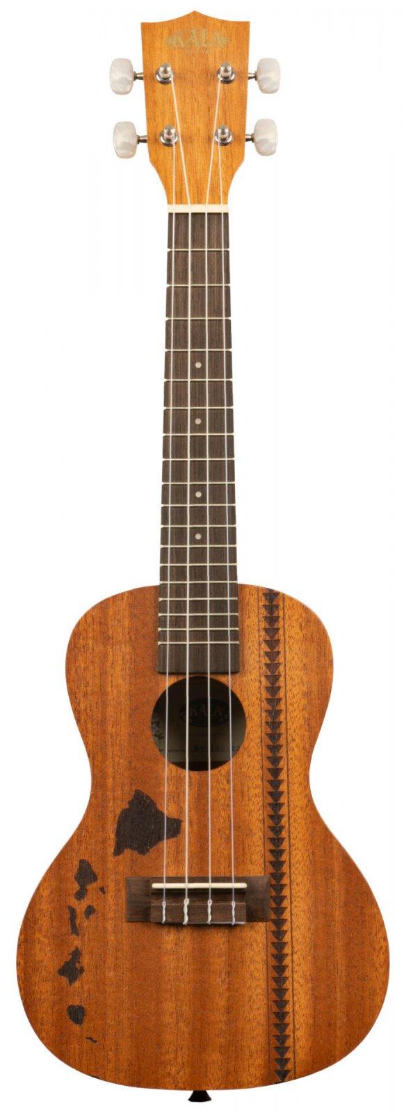 Kala KA-15C-H2 Satin Mahogany Concert w/ Hawaiian Islands & Tatoo Ukulele