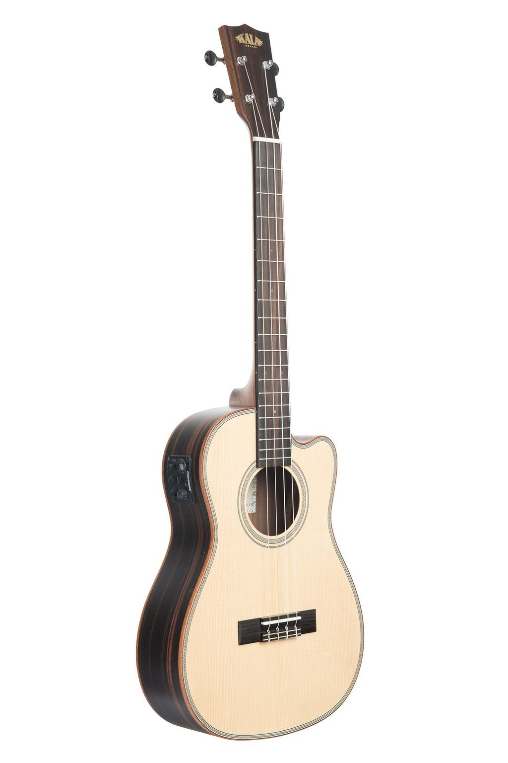 Kala Solid Spruce Top Striped Ebony Baritone Cutaway Ukulele w/EQ