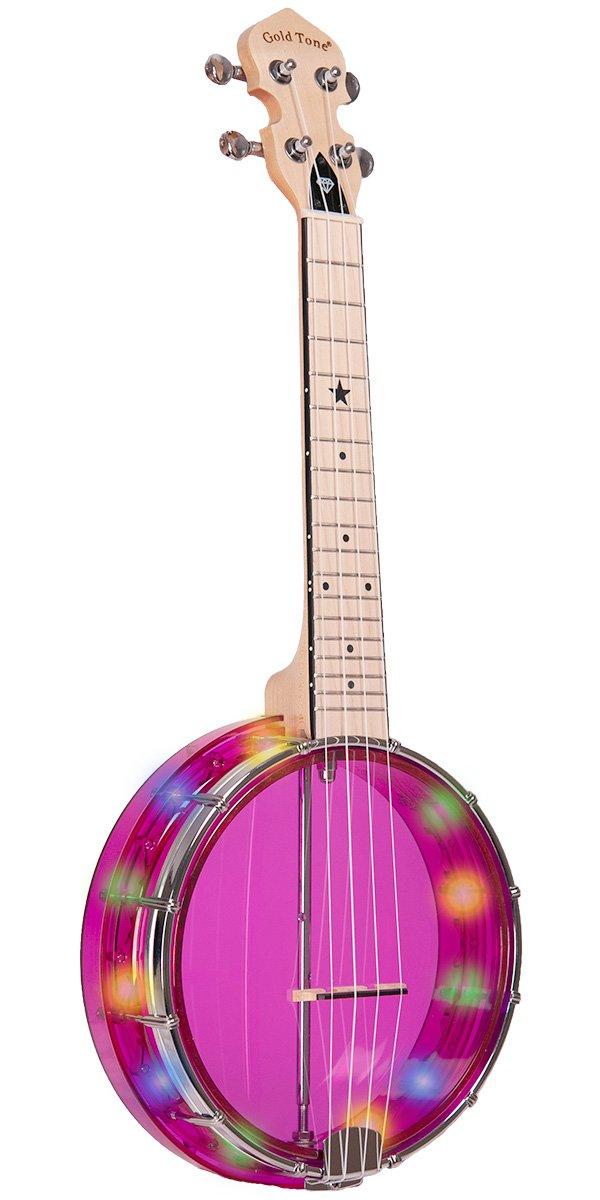 Gold Tone Little Gem Light-Up Banjo Ukulele w/Bag - Purple