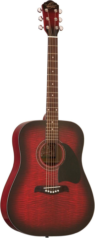 Oscar Schmidt OG2FBC-A-U Dreadnought Acoustic Guitar - Flame Black Cherry