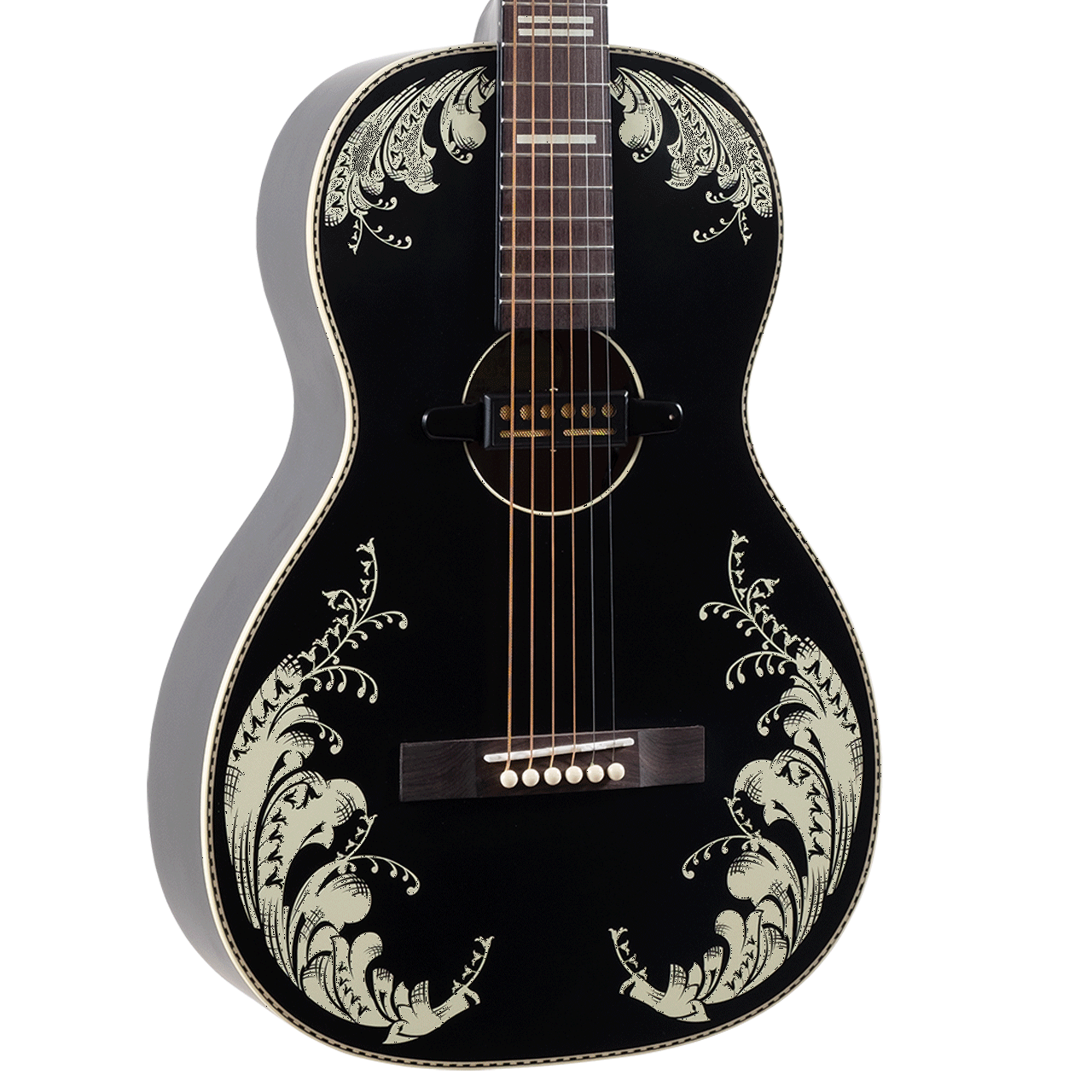 Recording King Dirty 30's Series 7 0 Lily-of-the-Valley Parlor Guitar with Gold Foil Pickup