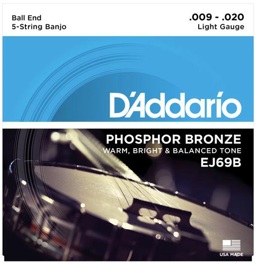 D'Addario EJ69B 5-String Ball-End Banjo Strings - Phosphor Bronze, Light, 9-20