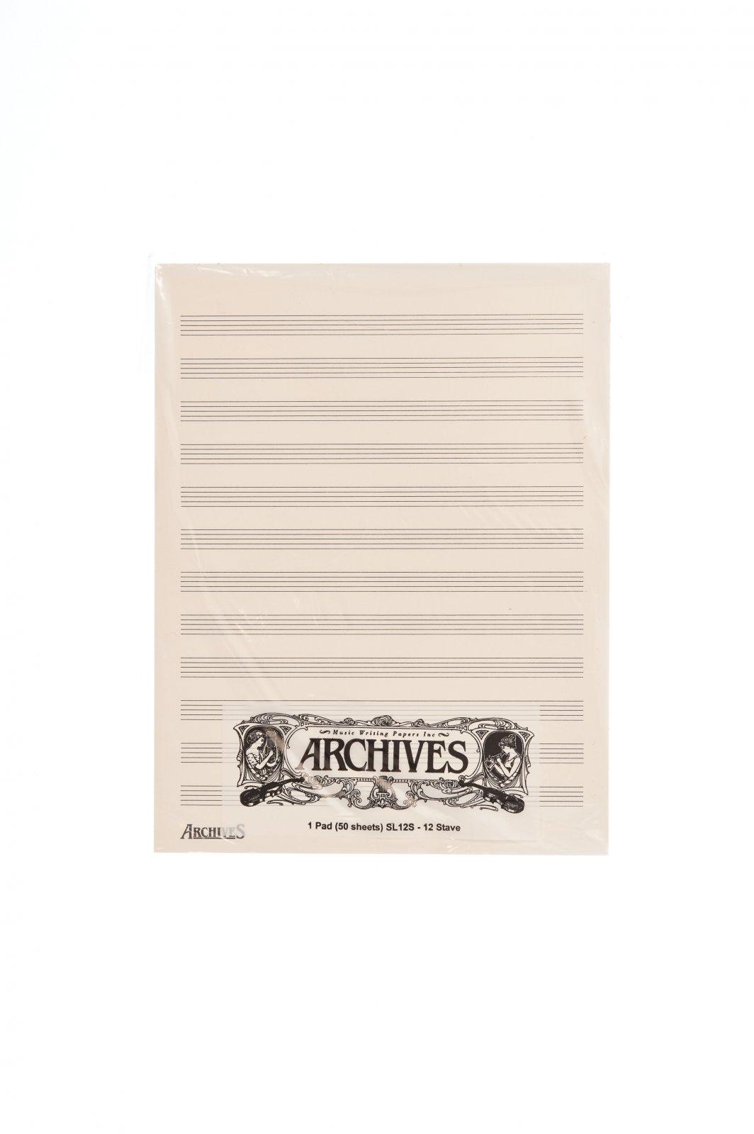 Archives Manuscript Score Pads, 12 Stave, 50 Sheets
