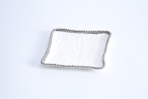 Pampa Bay Square Appetizer/Dessert Plate White and Silver