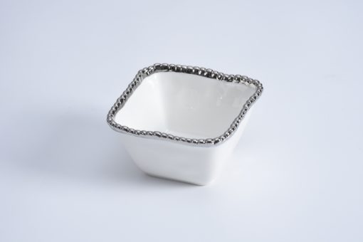 Pampa Bay Square Snack Bowl White and Silver