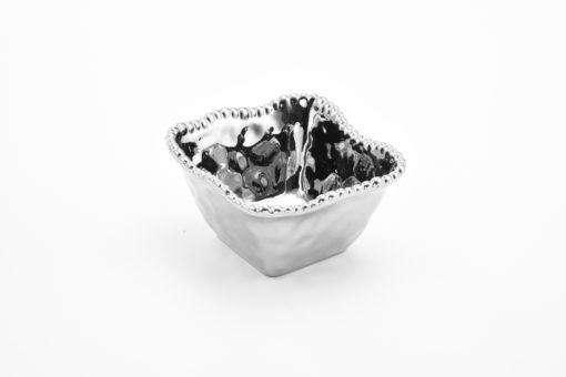 Pampa Bay Square Snack Bowl Silver with Edging
