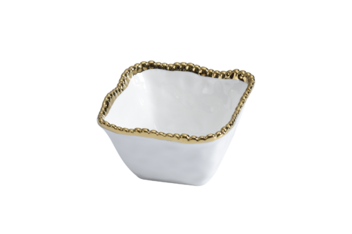 Pampa Bay Square Snack Bowl White and Gold