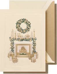 Crane Cozy Christmas Fireplace Mantel Card Box of 10