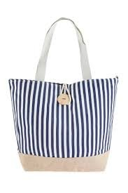 STRIPED TOTE BAG WITH COCONUT SHELL BUTTON TIE LOCK