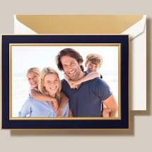 Crane Navy and Gold Border Photo Card Box of 10