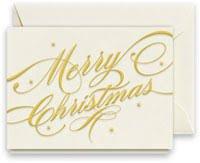 Engraved Merry Christmas Ribbon Boxed Holiday Gift Enclosure Cards