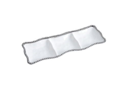 Pampa Bay 3-Section Serving Piece White and Silver
