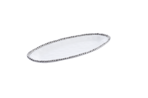 Pampa Bay Small Oval Serving Piece White and Silver
