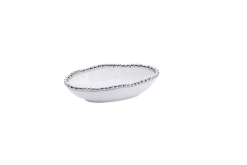 Pampa Bay Long Condiment Bowl White and Silver