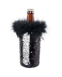 Beer Tote Sequin Black & Silver