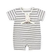 Romper with Binkie Gray Striped