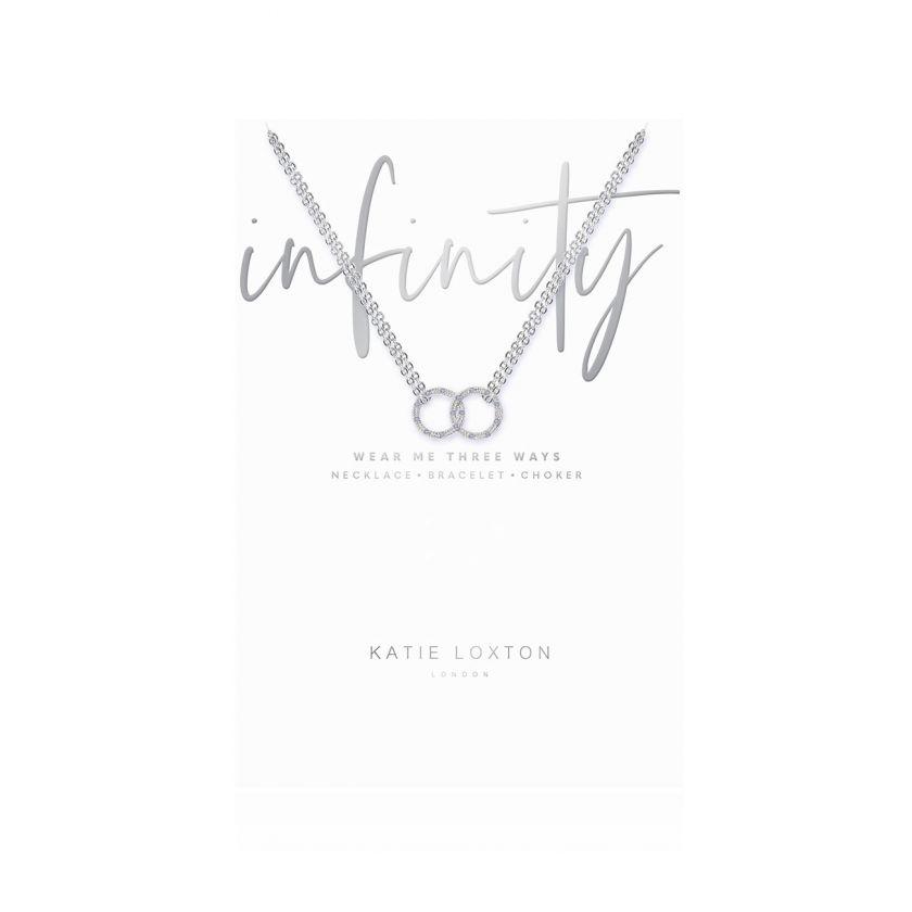 Katie Loxton - Infinity Silver Pave Circle Charm on Silver Necklace Choker/Bracelet