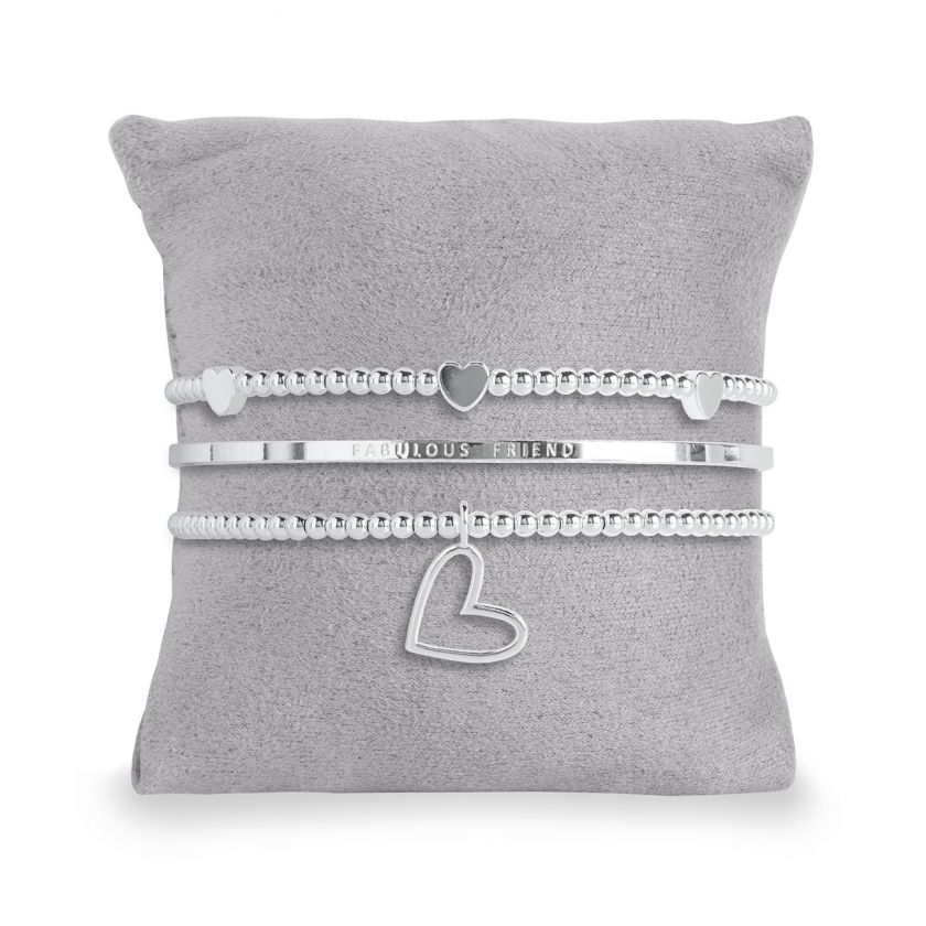 Katie Loxton - Occasion Gift Box - Fabulous Friend - 3 Silver Stacking Bracelets