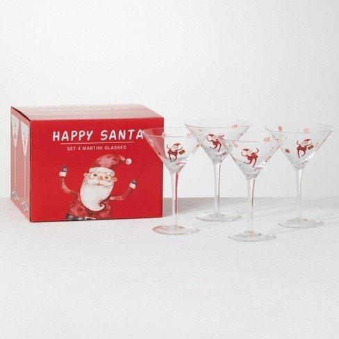 Happy Santa Martini Glass