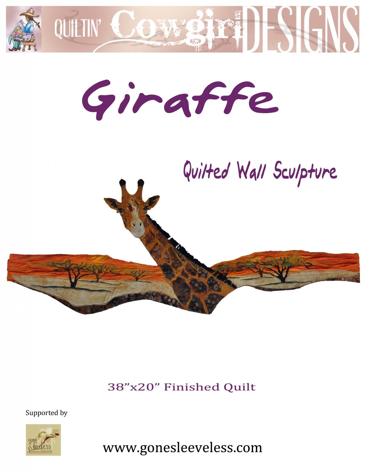 GIRAFFE ON THE SERENGETI QUILTED WALL SCULPTURE