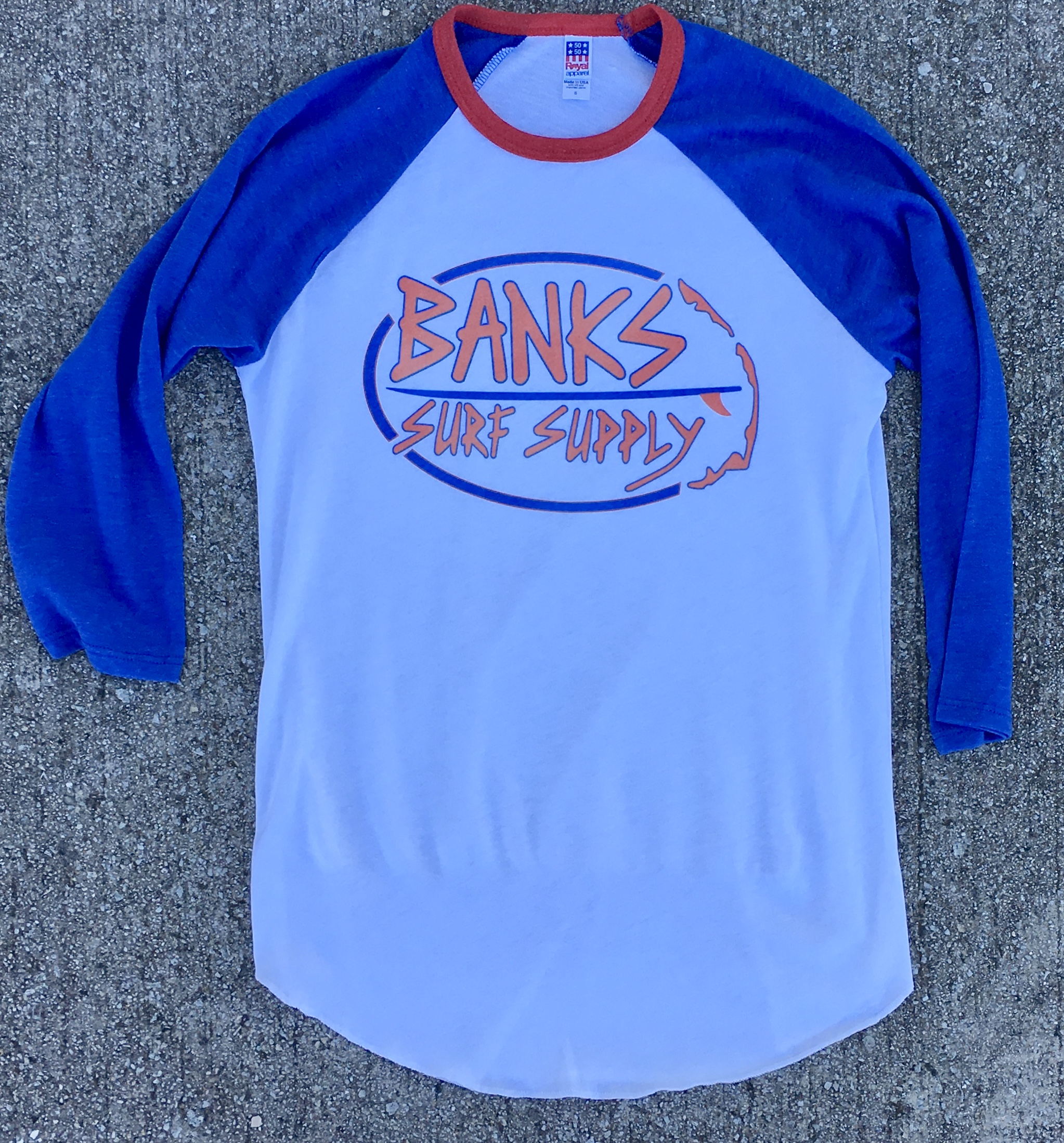Banks Surf Supply Oval Logo Raglan Shirt Americana