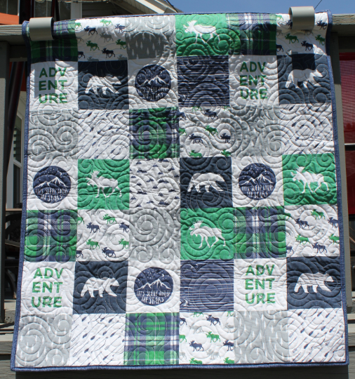 Under the Stars Bear and Moose Patchwork Wholecloth Panel Quilt Crib/Lap/Wall