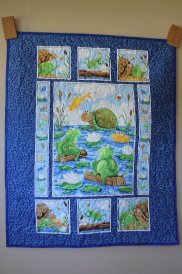 Frogs and Turtles Kids Wholecloth Panel Quilt