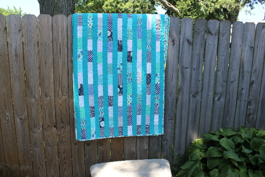 Ripples Twin Size Turquoise and Blue Quilt