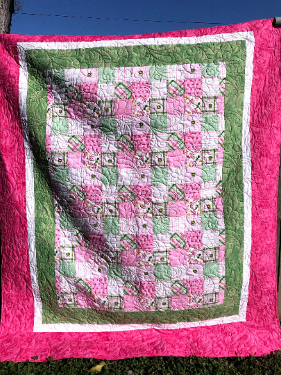 John Deere Pink and Green Floral Twin Quilt