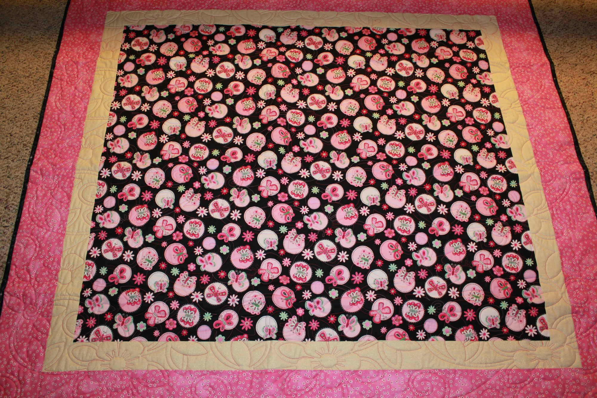 Glittery Pink & Black Butterfly Quilt