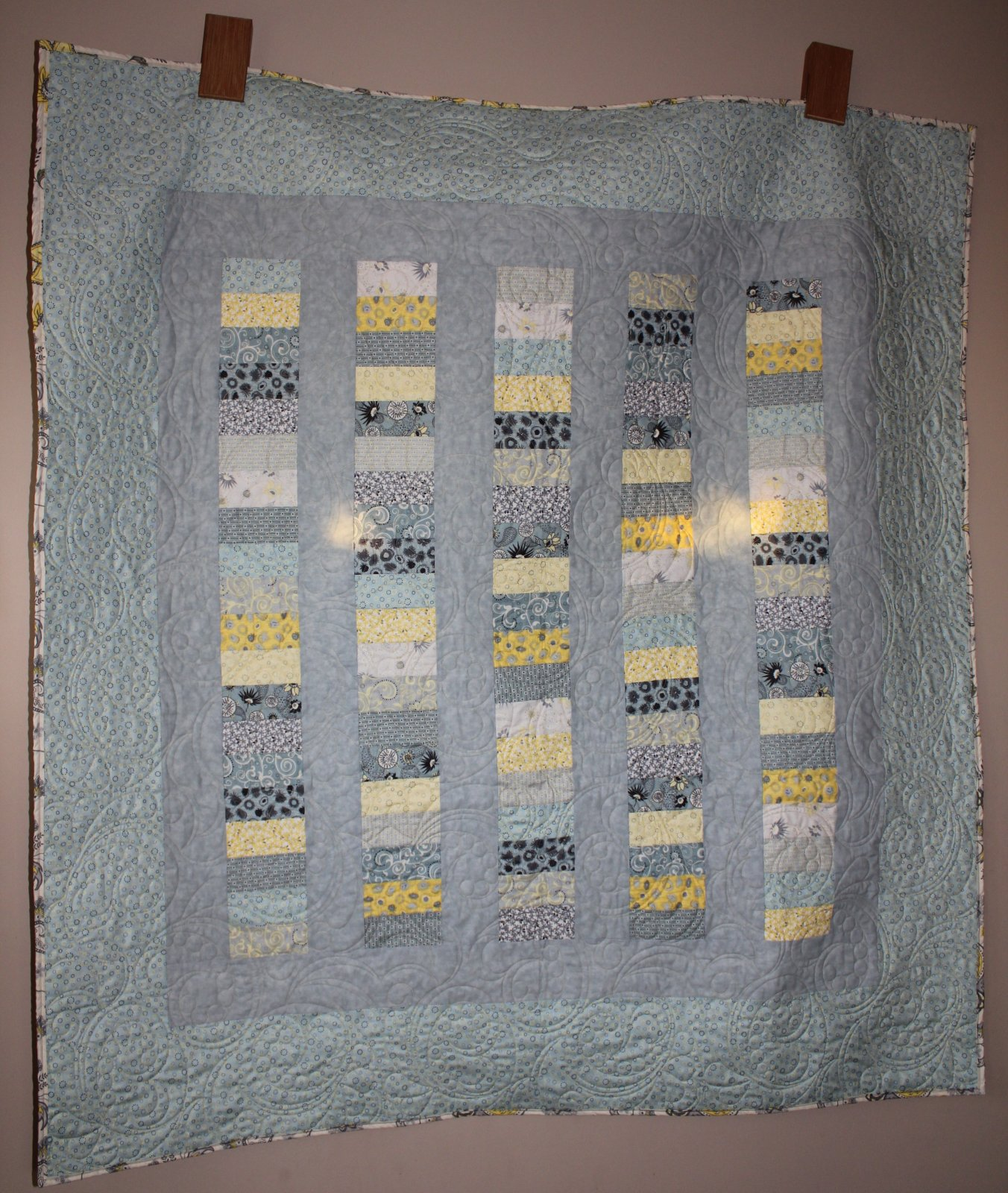 Mod Gray and Yellow Charm Strip Quilt Throw/Lap/Wall Hanging